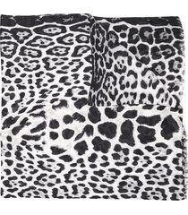 saint laurent leopard-print silk scarf - black