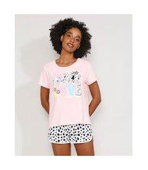 pijama feminino manga curta 101 dálmatas rosa claro