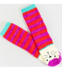 julissa cat cozy crew socks - bright red