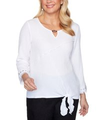 alfred dunner checkmate tie-front bubble-gauze woven top