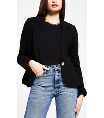 river island womens black fitted gold button detail blazer