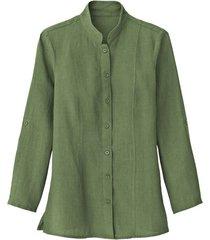 lange linnen blouse met opstaande kraag, olijfgroen 40