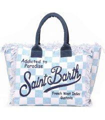 light blue and white checked canvas bag