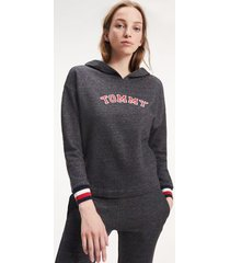 tommy hilfiger women's lounge hoodie dark grey heather - xs