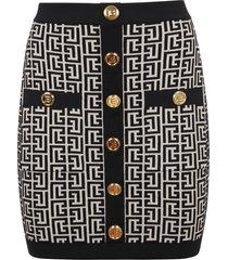 balmain short buttoned monogram jacquard skirt