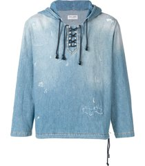 saint laurent destroyed denim hoodie - blue