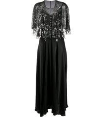 paco rabanne detachable-cape embellished satin dress