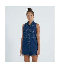 macaquinho jeans com bolsos frontais fechamento em botões | blue steel | azul | m