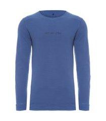 camiseta masculina manga longa waffle - azul