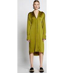 proenza schouler hammered satin long sleeve dress chartreuse/green 2