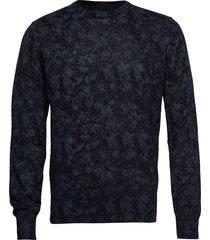 amaranth stickad tröja m. rund krage blå bruun & stengade