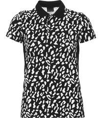 camisa polo enfim animal print preta