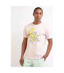 camiseta masculina bart simpson cupido manga curta gola careca rosa