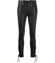 manokhi lace-up skinny trousers - black