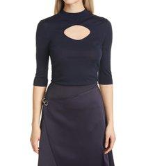 women's boss fetinne cutout elbow sleeve wool sweater, size x-large - blue