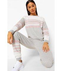 gebreide kerst trui en broek set, grey