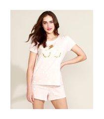 pijama feminino harry potter estampado de estrelas manga curta rosa