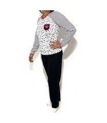 pijama fechado plus size estampado feminino blusa manga longa e calça