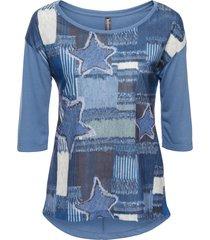 maglia lunga con stampa effetto denim (blu) - rainbow