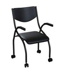 cadeira de escritório secretária colorado estofada preta