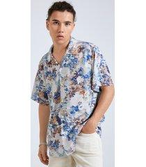hombre playa vacation hawaiian floral all over print camisa