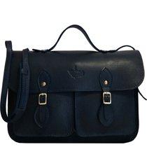 bolsa line store leather satchel pockets pequena couro marinho