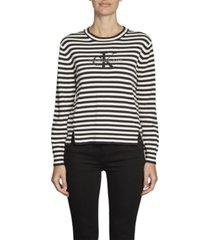 jersey de algodón orgánico con logo negro calvin klein