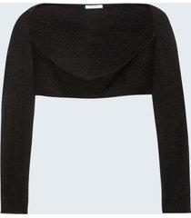 motivi coprispalle in maglia misto angora donna nero