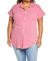 plus size women's caslon slub jersey camp shirt, size 1x - red