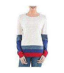 pullover sweater, 'imagine in ivory' (peru)