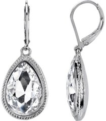 2028 silver-tone crystal faceted teardrop earrings