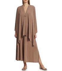 issey miyake women's drape jersey nude pleated jacket - dark beige