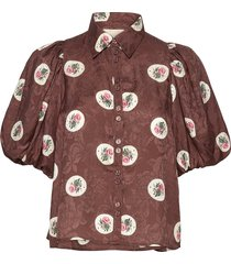 jacquard shirt blouses short-sleeved brun by ti mo