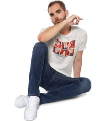 camiseta blanco-rojo jack & jones