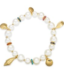charter club gold-tone pave & imitation pearl beaded shell stretch bracelet, created for macy's