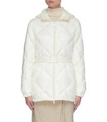 'sargas' belted diamond quilt down jacket