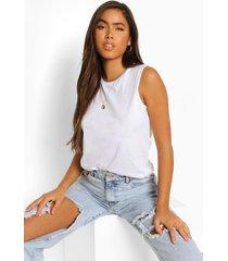 oversized mouwloos t-shirt, white
