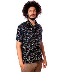 camisa andy roll brush floral preta - kanui