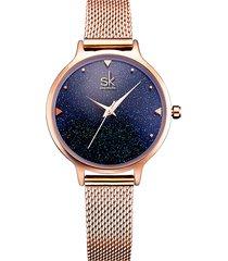 sk elegante quarzo wirstwatch cinturino in oro rosa orologio impermeabile blu cielo simle cifre per donne