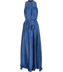 fantasia blue metallic belted silk gown