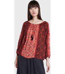 blusa desigual rojo - calce holgado