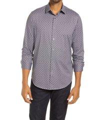 men's bugatchi ooohcotton tech floral dot knit button-up shirt, size xx-large - grey