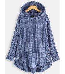 camicetta con cappuccio taglia plus maglia con coulisse irregolare stampa rughe