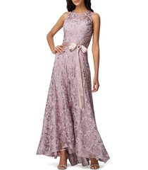 petite women's tahari soutache sleeveless a-line gown, size 8p - pink