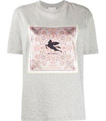 etro scarf-panelled t-shirt - grey