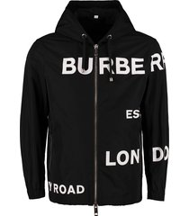 burberry printed hooded nylon jacket