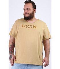 """camiseta masculina plus size """"new york"""" manga curta gola v bege"""
