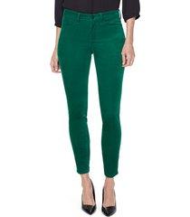 women's nydj ami stretch velvet skinny pants, size 2 - green