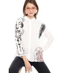blusa desigual ml blanco - calce holgado