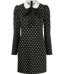 red valentino peter pan-collar polka-dot dress - black